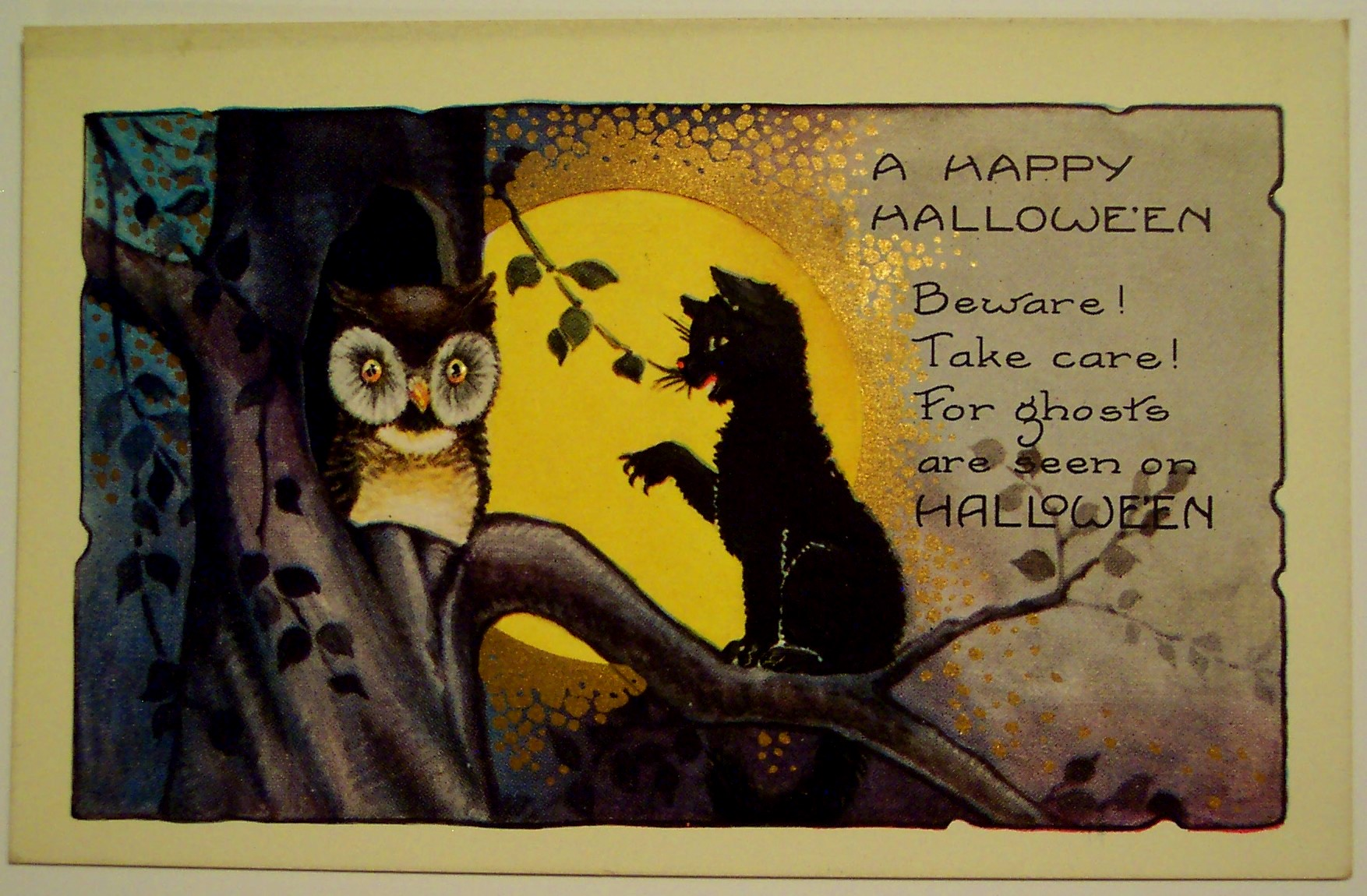 1916 Embossed Whitney Halloween Postcard Girl Witch Bats Cauldron ...