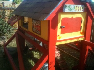 Chicken coop with vintage signs