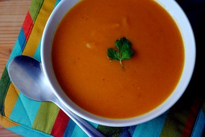 cheerful picture of sweet potato soup
