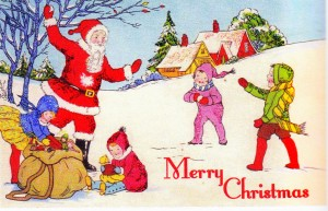 vintage Christmas card with 1920s santa and kids