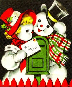 Vintage Christmas Card from 1940s with santa and wife