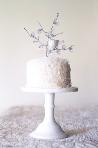 gorgeous white cake on white stand
