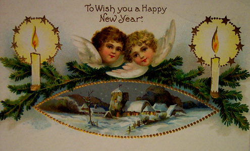 new years greeting card from the past