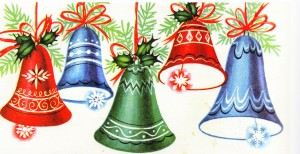 vintage christmas card with bells from 1940s