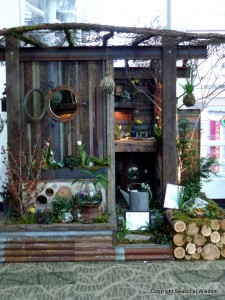 wooden shed with portholes and terrariums
