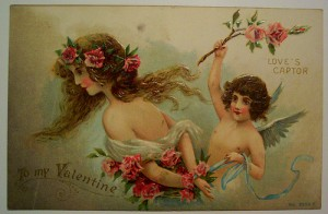 vintage card with woman and angel