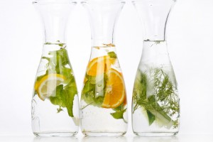 Herbal drinks with lemons and dill, mint