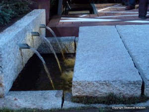 contemporary water feature in garden