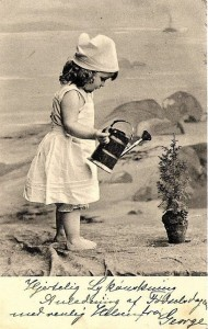 vintage b/w card summer solstice and little girl on beach
