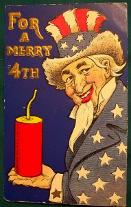 Uncle Sam holds fireworks on this vintage fourth of July cards