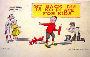 Kids play with fireworks in this vintage fourth of july cards