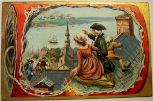 The battle of Bunker Hill is featured on this vintage Fourth of July cards