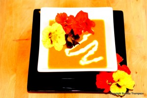 Post image for Chef Brenda's Roasted Butternut Squash Soup with Nasturtiums