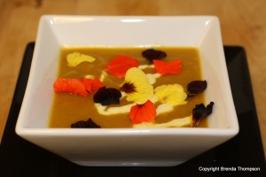 roasted butternut squash with edible flowers