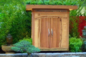 Wooden Chinese-style house in asian garden at 2013 northwest flower and garden show