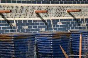 close up of blue tile water treatment