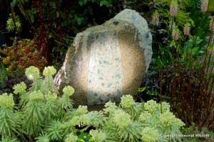 rock fountain with flowering plants