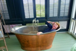 Copper bathtub at P. Allen Smith's home is one the back porch.