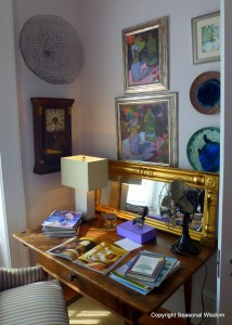 P. Allen Smith's home has small desk in master bedroom.