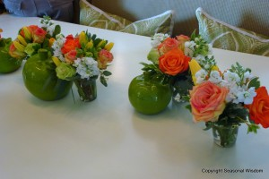 Pretty roses on table at P. Allen Smith's home.