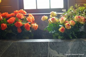Rose bouquets in sink at P. Allen Smith's home.