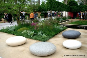 Artificial rocks make seats at 2013 Chelsea Flower Show