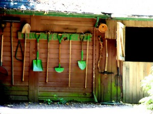 Hang your garden tools to organize your garden shed