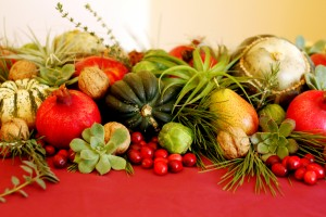 This seasonal tablescape is low enough to encourage conversations.