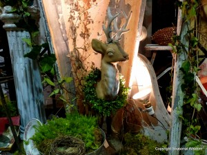 Hanging deer head at vintage garden market