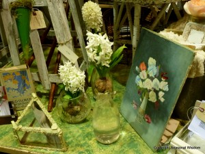 Vintage garden painting and bulbs