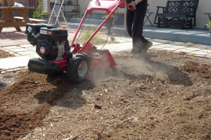 Powerful Troy-Bilt Bronco Axis Rototiller in action