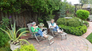 two women in garden from cancer survivor's garden companion