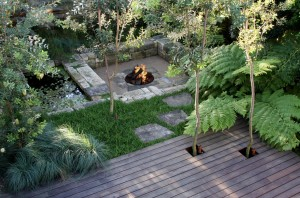 garden with fire pit