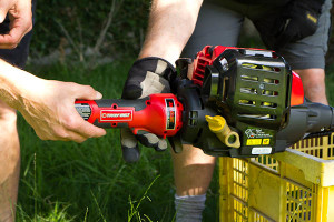 troy-bilt cordless electric starter up close
