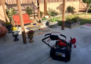 Troy Bilt mower on patio